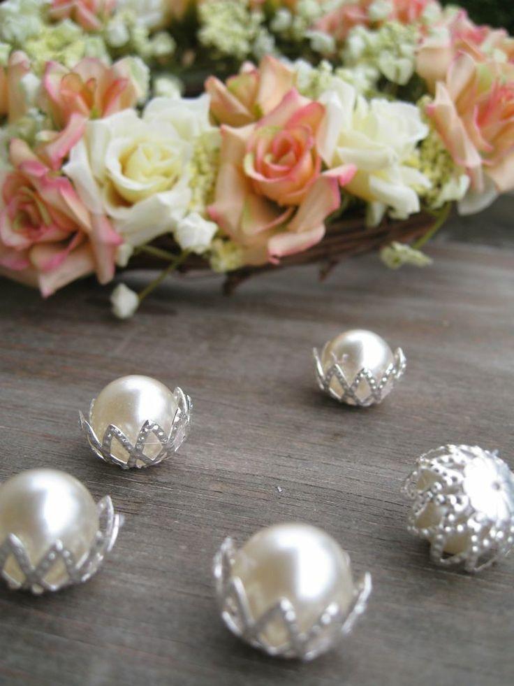 Streudeko Perlen in Fassung für Hochzeit Kommunion Konfirmation Tischdeko Perle