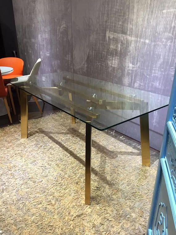 28 Rectangular Gold Stainless Steel Table Base Glass Dining