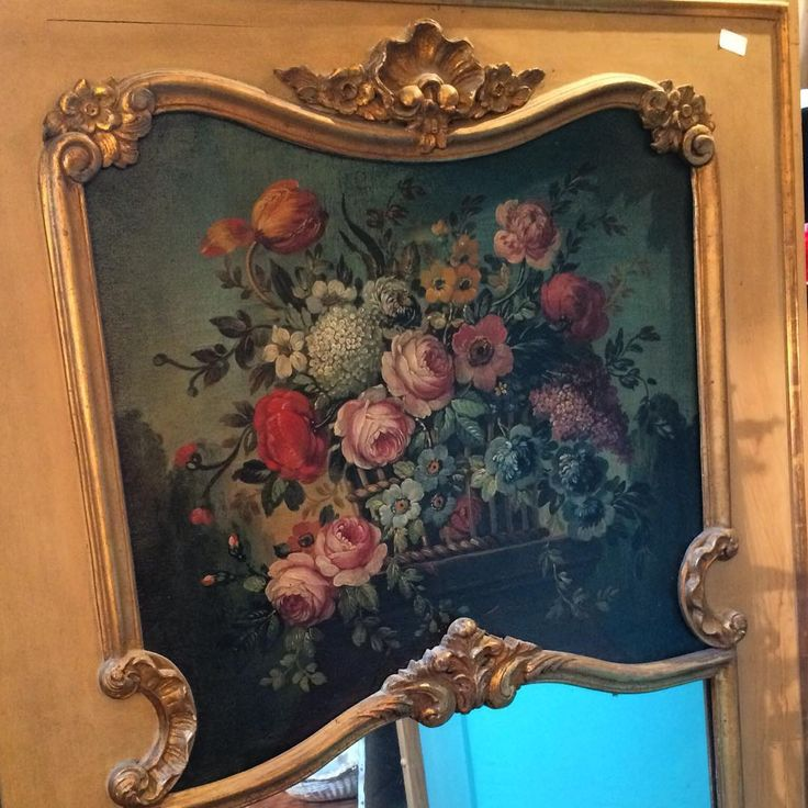 French trumeau Louis XV 1850's with flower painted  #auvieuxchaudron#antiques#antiquites#vintage#shabbychic#deco#homedecoration#miroir