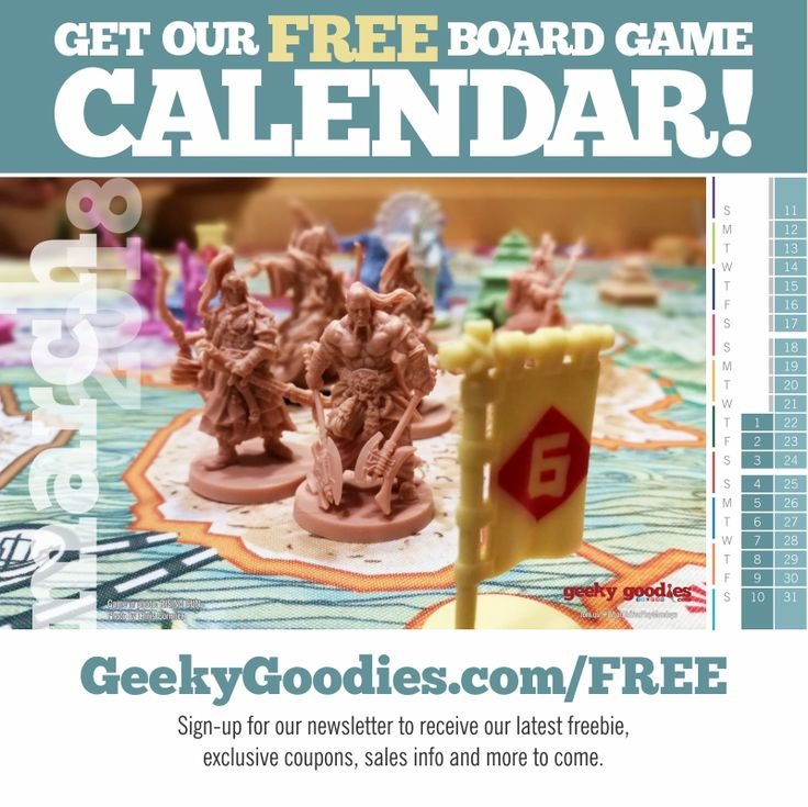 Get your FREE Board Game Calendar! An easy-to-print PDF and/or a desktop calendar wallpaper version - available now on our FREE STUFF page!   https://www.geekygoodies.com/free   #FREE #printable #calendar #2018calendar #boardgame #tabletopgame #FreeStuff #calendars #Freebie #GeekyGoodies