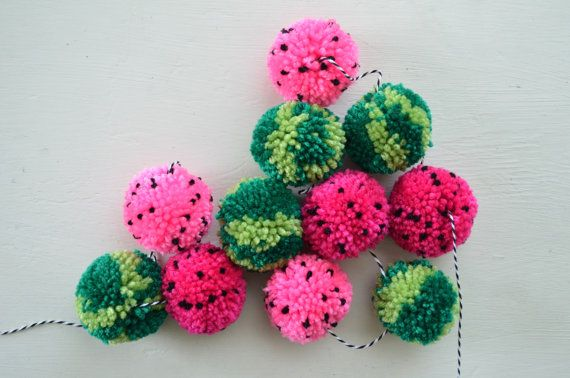 Yarn Pom Pom Garland  The Watermelon: Pink and by apricotpolkadot