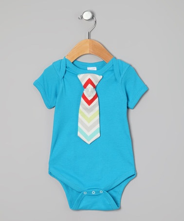 Take a look at this Snuggle Bug Kidz Turquoise Chevron Tie Bodysuit - Infant by Snuggle Bug Kidz on #zulily today!