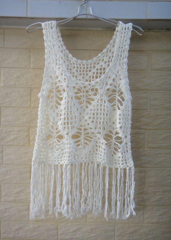 Fringed Tank Women Crochet Vest Hippie by Tinacrochetstudio
