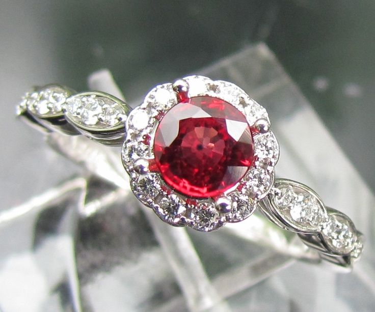 Ruby Engagement Ring In 14k Gold and Diamond Halo Setting Matching Band Available Bridal Jewelry Wedding Set. , via Etsy.    I think im in love with ruby engagement rings. :)