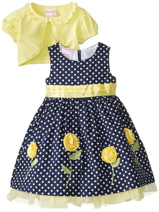 Nannette Little Girls' Printed Poplin Dress with 3D Flowers, Yellow, 6