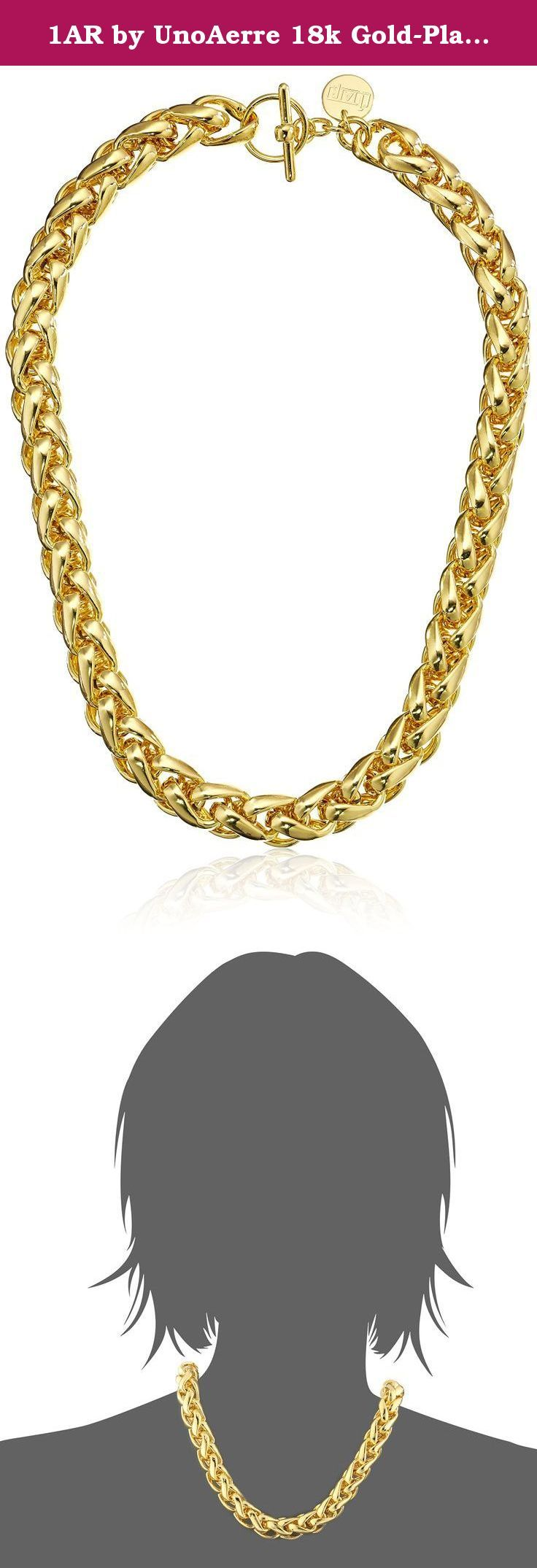 """1AR by UnoAerre 18k Gold-Plated Herringbone Link Necklace, 20"""". Manufactured by Italy's renown gold craftsmen, this 1AR by UnoAerre necklace features a thick herringbone link chain constructed from rich 18k gold plating. Toggle clasp. Special technology protects necklace from color fading. Clean with soft, dry, chemical-free cloth only. Made in Italy."""