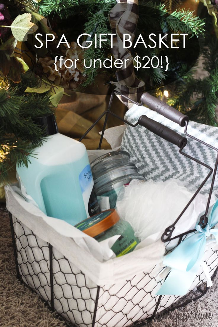 Check out this clever gift idea for under $20. Make your own pampering spa gift basket for anyone to enjoy!