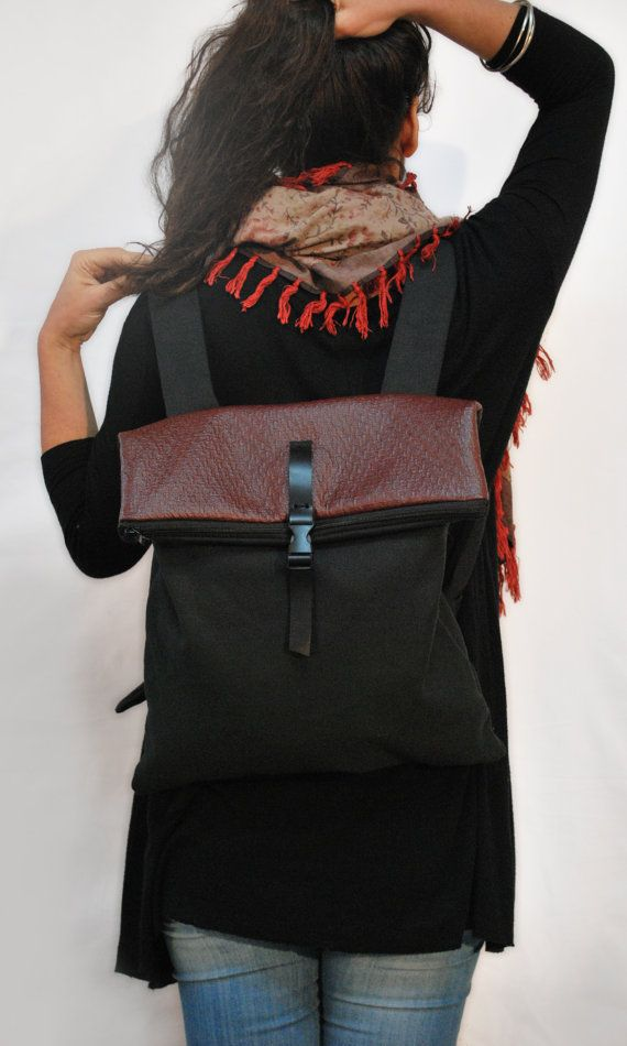 Backpack  Messenger bag / Black Waterproof by misirlouHandmade