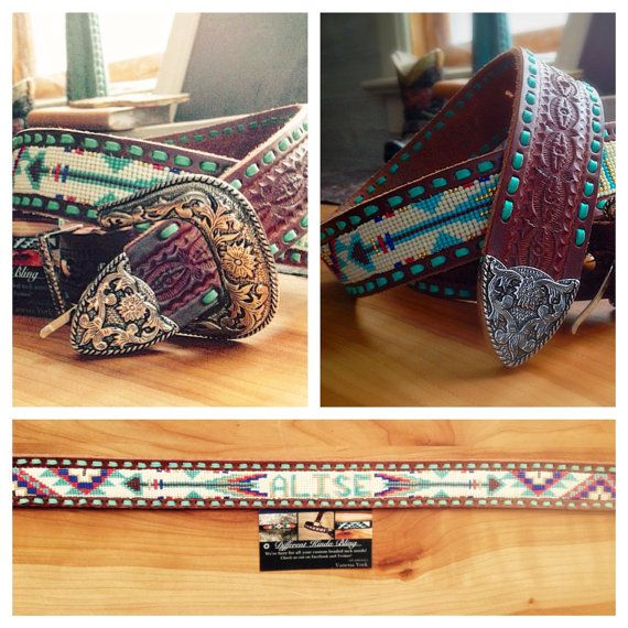 Custom Beaded Belt by DifferentKindaBling on Etsy