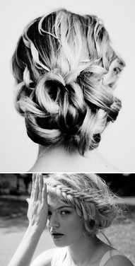 Curls recessing into low bun. Room for flowers :)
