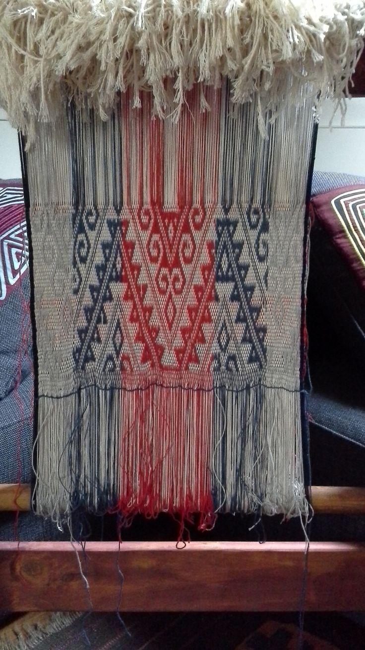 My work in process, suplementary warp face textile with Mapuche motif/Mi trabajo en proceso, textil de faz de urdimbre suplementaria con motivo mapuche