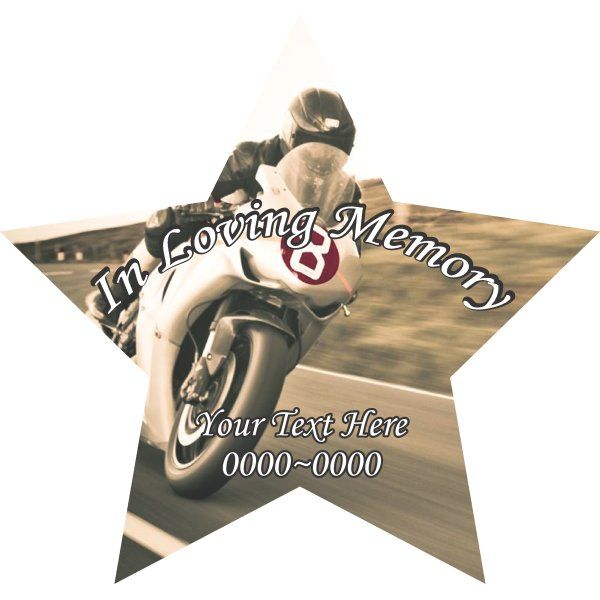 Street Bike Moto In Loving Memory Full Color Star Shape 003 Custom Vinyl  Wall Decal Or