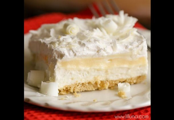 Hvid chokolade-lasagne