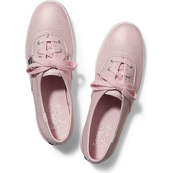Keds TAYLOR SWIFT'S CHAMPION METALLIC CANVAS ($55) ❤ liked on Polyvore featuring shoes, sneakers, light pink, keds, keds shoes, canvas sneakers, pink shoes and keds footwear