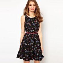 Letní šaty 2015 černé květinové Šaty Oděvní Ženy Neformální Oblečení tiskové šifon Vestidos Dámská elegantní dámy Wear (Čína (pevninská část))