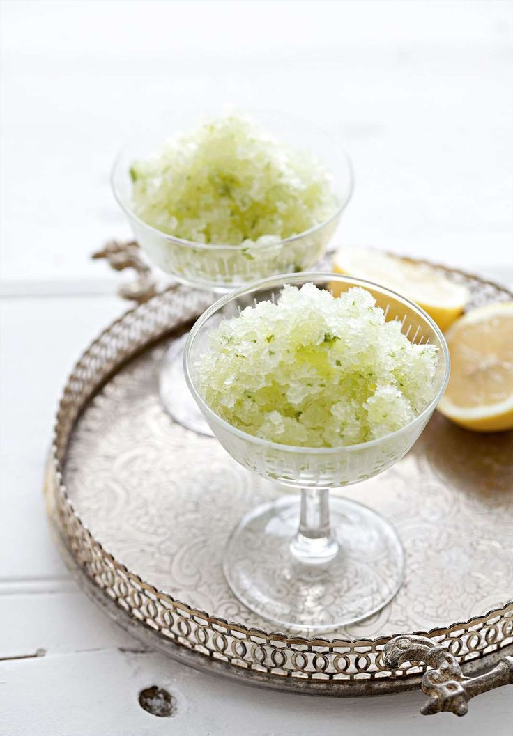 Lemon and basil granita from Rebecca Seal. Find it on Cooked.com.
