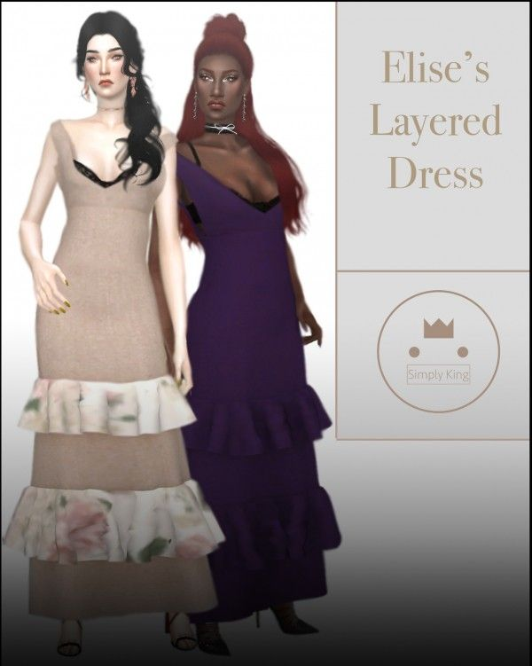 cbad948e696 Simply King - Elise's Layered Dress for The Sims 4