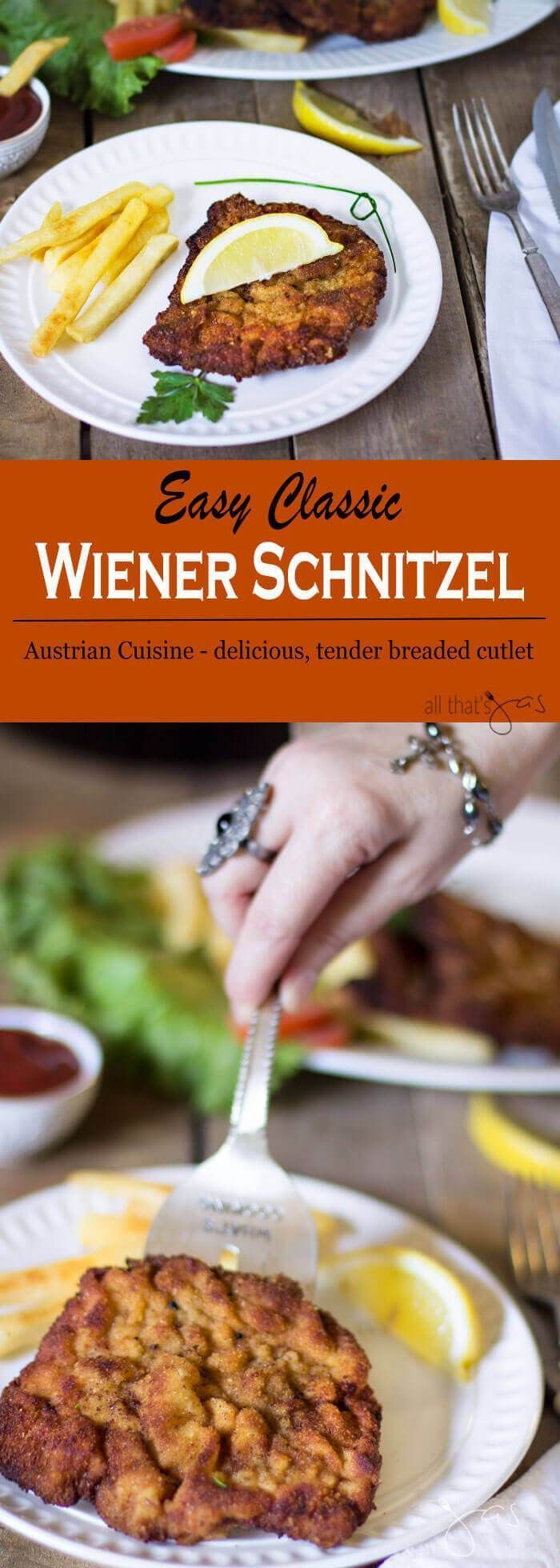 Easy and quick Wiener schnitzel is breaded cutlet of veal or pork served with French fries and lemon wedge that the whole family will love
