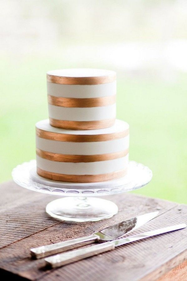 Copper and White Striped Wedding Cake Ideas / http://www.deerpearlflowers.com/bronze-copper-wedding-color-ideas/