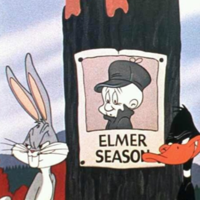 Instead of pictures of rabbit season Bugs replaces it with Elmer Season