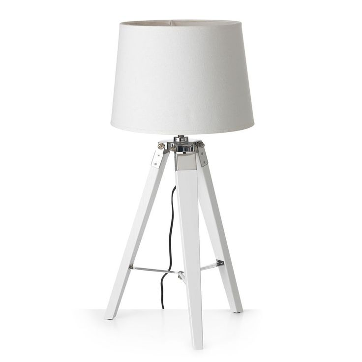 Tripod Table Lamp 65cm White Shade White Legs – Black Mango