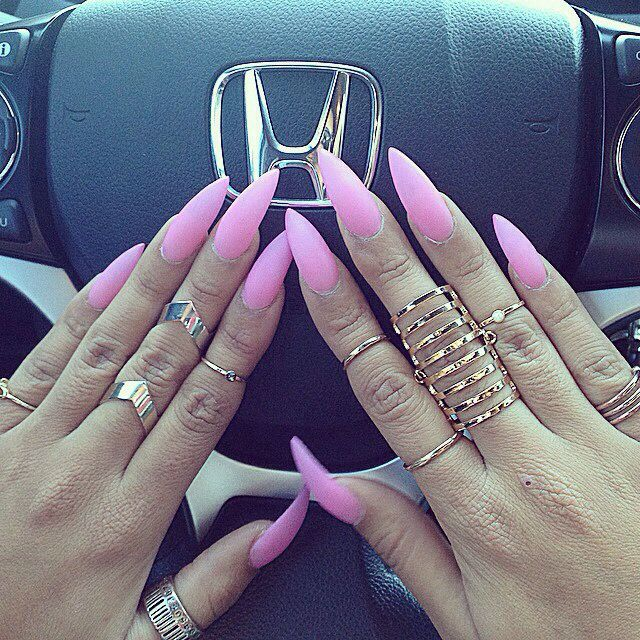 Long pale pink stiletto nails...Get more of us>>>.HAIR NEWS NETWORK on Facebook... https://www.facebook.com/HairNewsNetwork