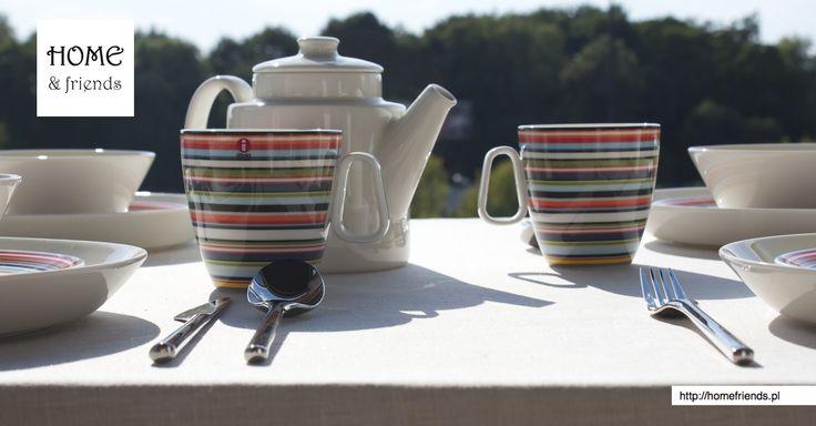 #śniadanie #loggia, #dzbanek na herbatę #Teema biała, #kubki 0,4 l. #Origo pomarańczowe, #sztućce  #Artik