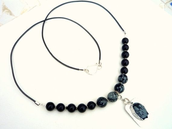 Leather cord and Snowflake Obsidian necklace. Sterling Silver pendant. Snowflake Obsidian cabochon. Long necklace.Black and white.Metalwork.