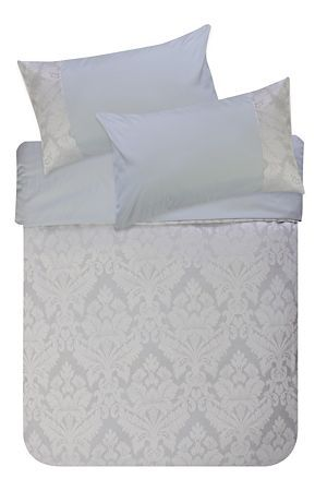 """This all over jacquard duvet cover set has a super soft touch microfiber reverse. This tonal natural jacquard will create an elegant look in any feminine bedroom setting. Single and three quarter include 1 standard pillowcase, double, queen and king include 2 standard pillowcases.<div class=""""pdpDescContent""""><BR /><BR /><b class=""""pdpDesc"""">Fabric Content:</b><BR />100% Polyester<BR /><BR /><b class=""""pdpDesc"""">Wash Care:</b><BR>Lukewarm machine wash</div>"""