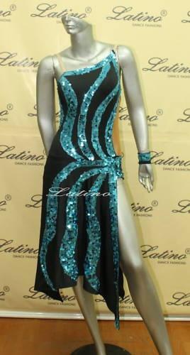 Teal and black Latin comp dress