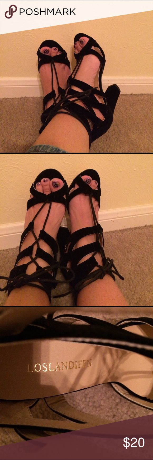Loslandofen 4 inch heels size 7 NWOB Black new, never worn. Lace up block heel sandals loslandifen Shoes Sandals