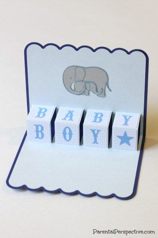 "A pop up card created using Lori Whitlock's ""baby boy blocks"" design."