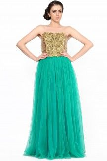Very Beautiful Emerald Green Color With Very Elegant Antique Embroidery  Rs. 19,110