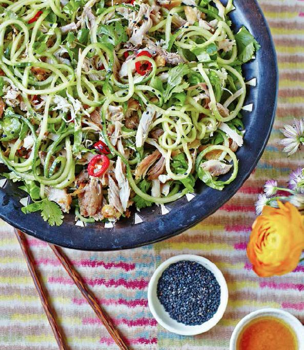 Sesame chicken salad with cucumber noodles