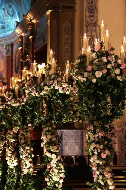 Extravagant ~ roses and candlelight wedding