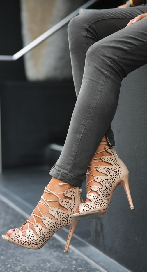 Sexy, lace-up heels go perfectly with a pair of skinny jeans. on