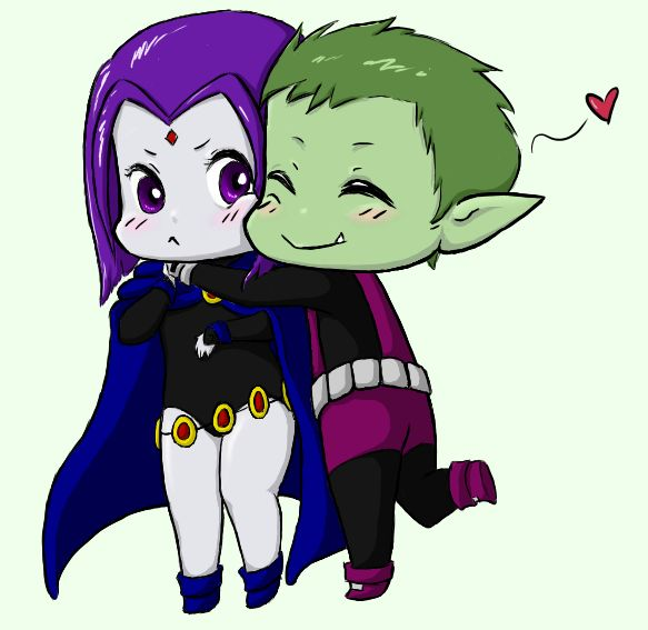 chibi hug | Beast Boy and Raven | Pinterest