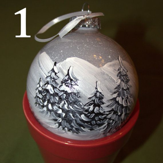 Black and White hand painted Christmas ornament by ECHUTSON, $18.50