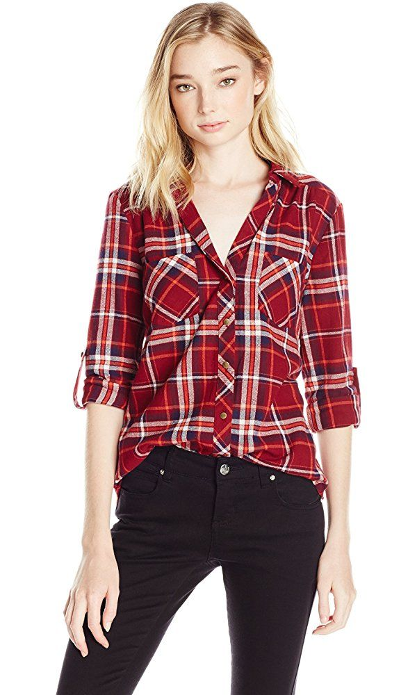 My Michelle Juniors Brushed Flannel Plaid Button Front with Roll Tab Sleeves, Oxy Blue, XL Best Price