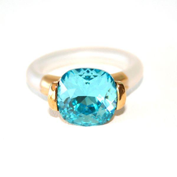 Turkis ring laget av forgylt tinn, Swarovski krystall og regulerbar gummi