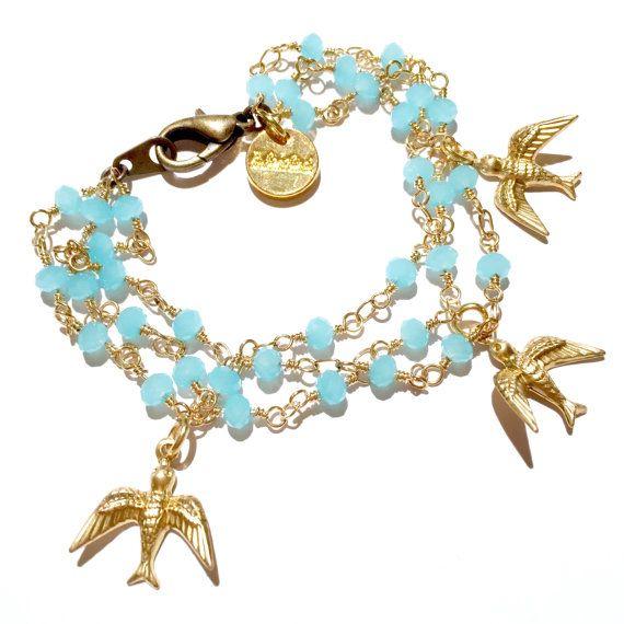 Bird Charm Bracelet brass birds sky blue glass beads by Rubenabird