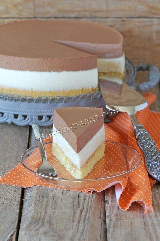 Dark and white chocolate mousse cake