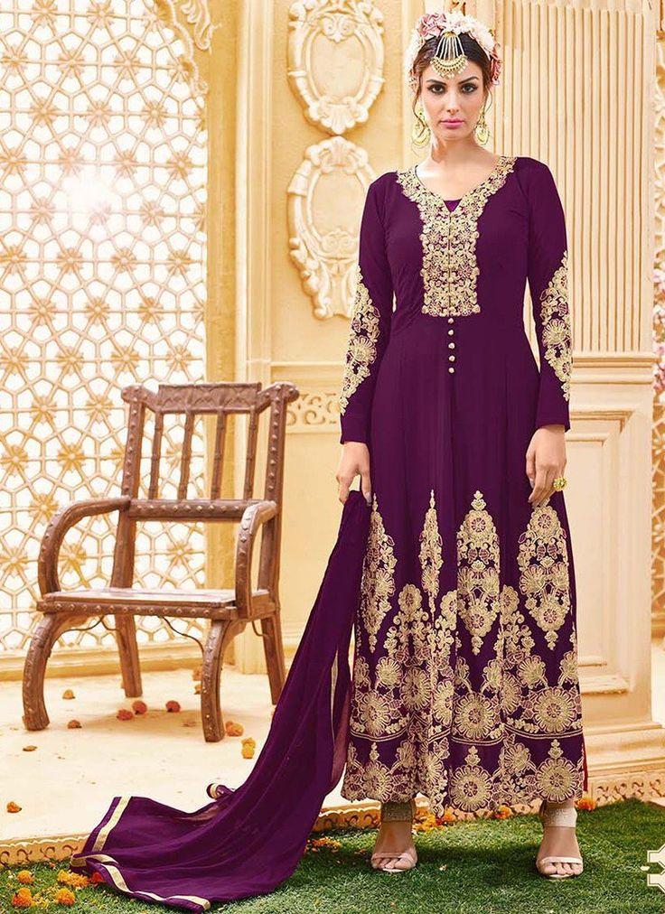 Shop Online Magenta Georgette Long Length Salwar Suit @Chennaistore.com