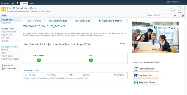Using sharepoint 2010 as a web based tool excel project for Sharepoint project tracking template