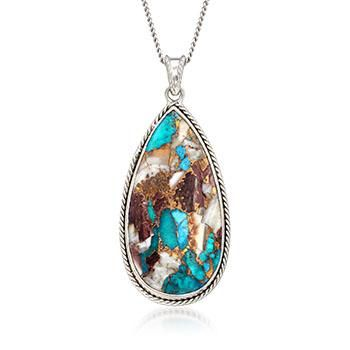 """Ross-Simons - Pear-Shaped Kingman Turquoise Pendant Necklace in Sterling Silver. 16"""" - #893309"""