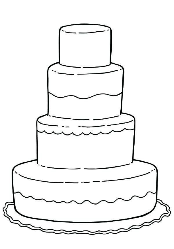 Wedding Cake Simple Coloring Sheet Coloring Wedding Coloring