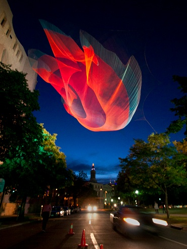 Artist, Janet Echelman, Denver installation