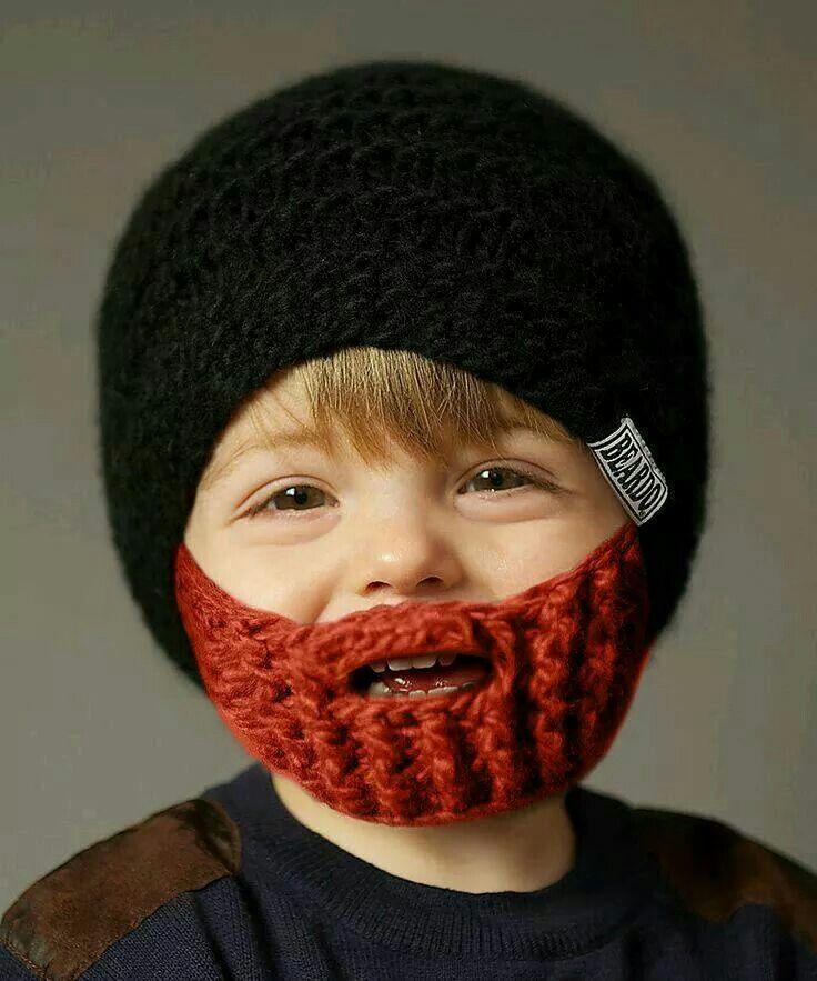 Beanie with crochet flip-down beard