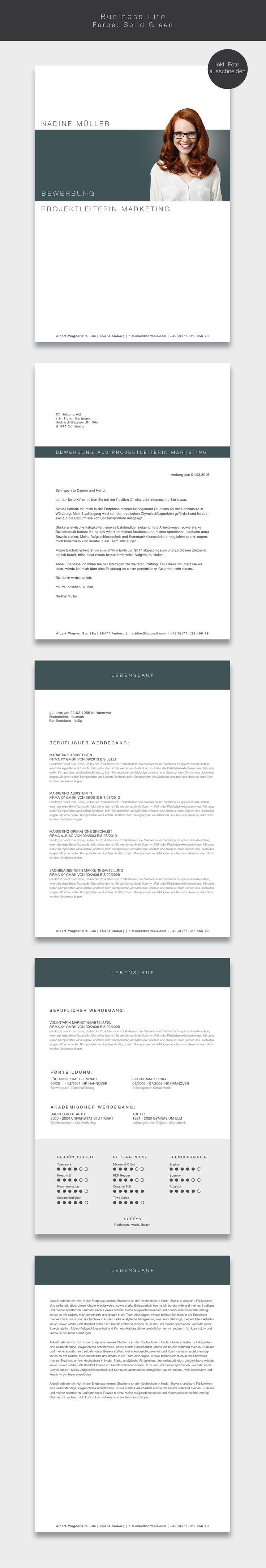"""Unsere Bewerbungsvorlage (cv template) """"Business Lite"""" in der Farbe Solid Green. Mit der stilsicheren Vorlage """"Business Lite"""" heben sie sich von allen anderen ab und zeigen, dass kein Weg an Ihnen vorbeiführt. Sie erhalten von uns ein Deckblatt, Anschreiben, Lebenslauf, Motivationsschreiben und eine Abschlussseite. Die Datei bekommen Sie als fertige Pages- oder Word-Datei inklusive Platzhaltertext mit Hinweisen. #grafikdesign"""