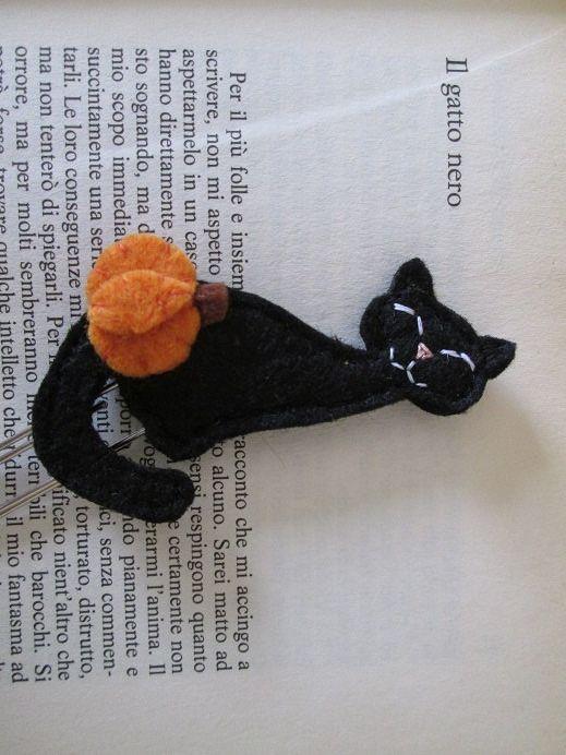 Cat bookmark - Felt bookmark - Halloween cat di TinyFeltHeart su Etsy